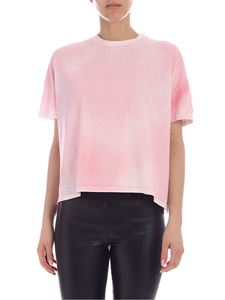 Moncler - T-shirt with logo in faded pink