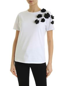 be Blumarine - T-shirt in white with black floral details