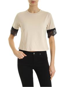 be Blumarine - T-shirt with lace in nude color