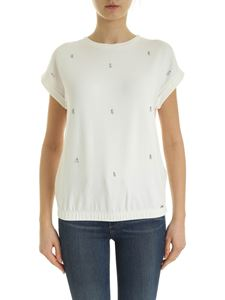 Fay - T-shirt with rhinestones in white