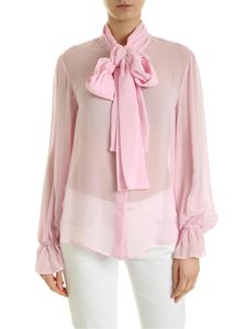 be Blumarine - Semitransparent shirt with bow in pink