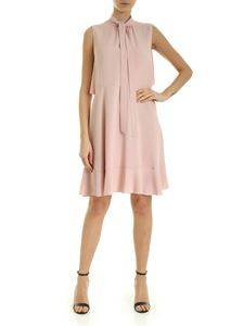 Red Valentino - Sleeveless dress in pink crepe with ruffles