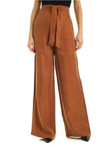 L'Autre Chose - Palazzo pants with bow in brown