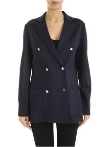 Fay - Double-breasted jacket in blue stretch viscose