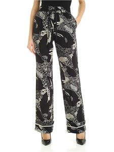 Red Valentino - Phoenician printed silk pants in black