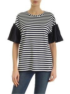 Fay - Striped T-shirt in blue and white with satin details