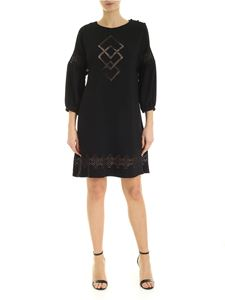 Red Valentino - Crepe dress in blue with openwork details