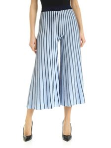 be Blumarine - Knitted pants in light blue with blue trim