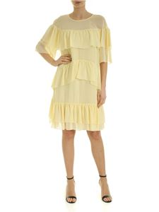 be Blumarine - Georgette dress with ruffles in yellow