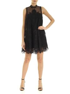 Red Valentino - Embroidered point d'esprit tulle dress in black