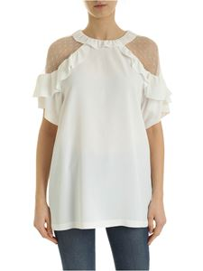 Red Valentino - Crepe blouse with plumetis finish in white