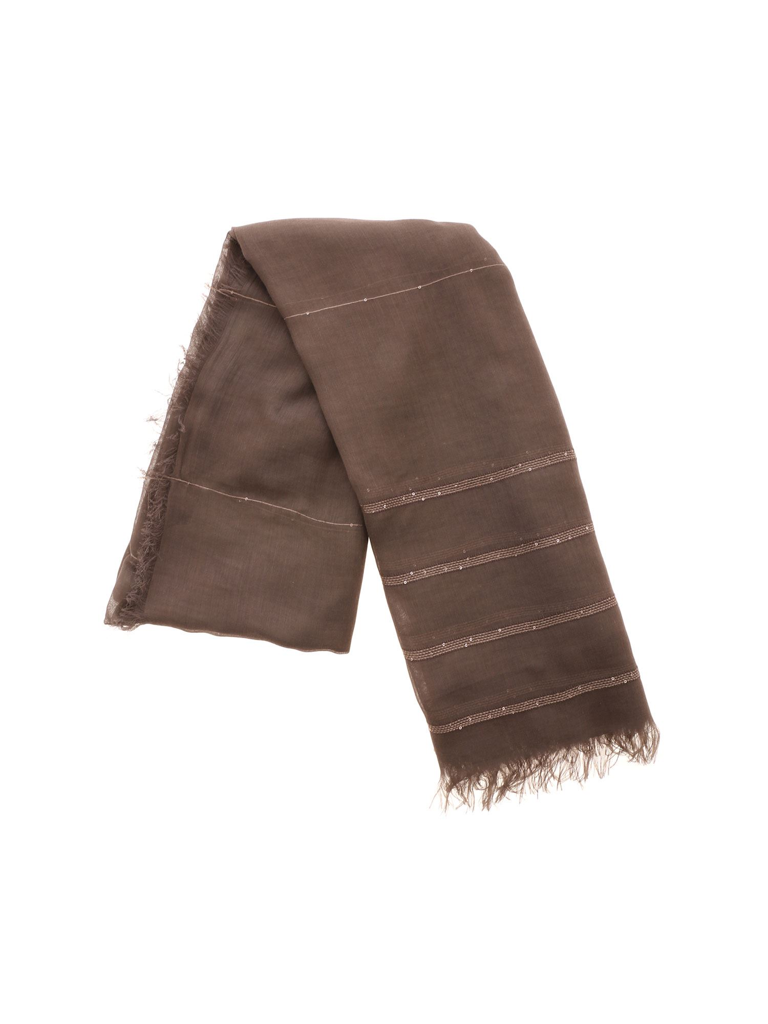 Peserico SEQUINS AND LAMÉ DETAILS SCARF IN BROWN