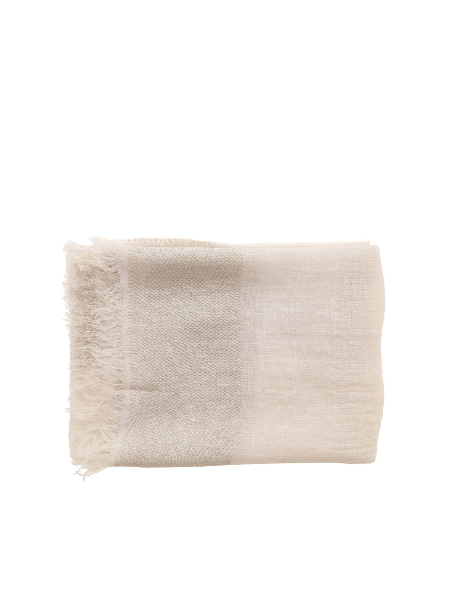 Peserico TEXTURED WHITE SCARF WITH LAMÉ DETAIL