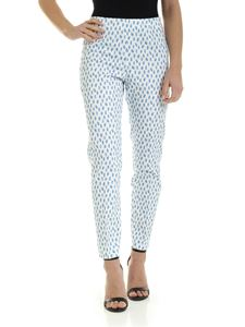 Peserico - Blue print pants in white