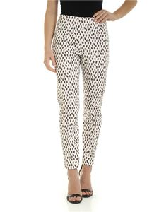 Peserico - Brown print pants in white
