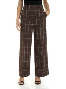Peserico - Checkered wide leg pants in green