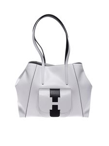 Hogan - Shopping bag in white and black leather