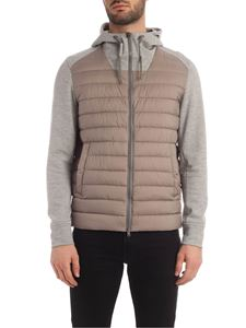 Herno - Knitted sleeves down jacket in dove grey
