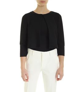 Emporio Armani - Cropped knitted fabric cardigan in black