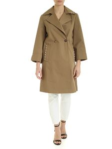 Dondup - Trench coat with studs in military green