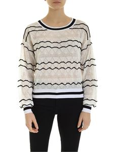 Ballantyne - Textured pullover with black inserts in white