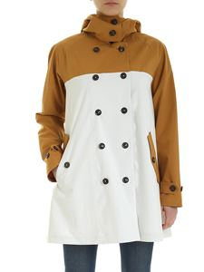 Save the duck - Double-breasted coat in beige and white