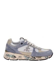 Premiata - Mase suede sneakers in grey white and beige