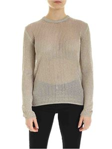 Ballantyne - Lamé detail crewneck sweater in beige