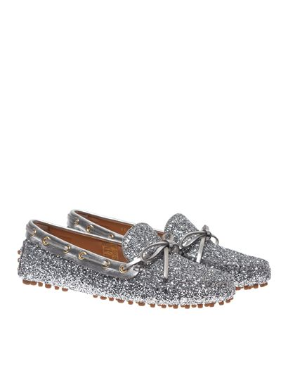 Car Shoe - Glitter loafers in silver color