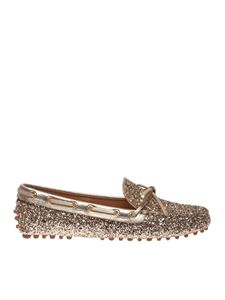 Car Shoe - Glitter loafers in gold color