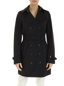 Save the duck - Logo double-breasted trench coat in black