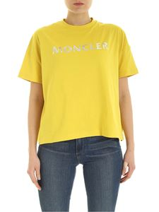Moncler - Logo print t-shirt in yellow