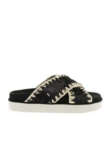 Mou - Criss-Cross Bio sandals in black
