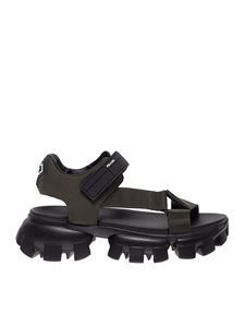 Prada - Sandals in military green with logo