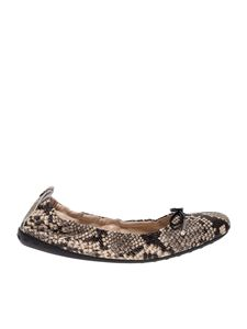 Tod's - Reptile print ballerinas in beige and black