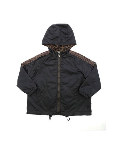Fendi Jr - Monogram FF reversible jacket in black