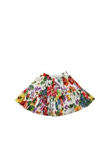 Dolce & Gabbana Jr - Gonna bianca con stampa fiori multicolor