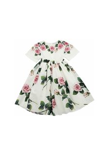 Dolce & Gabbana Jr - Tropiacel Rose print dress in white