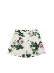 Dolce & Gabbana Jr - Shorts bianchi con stampa Tropical Rose
