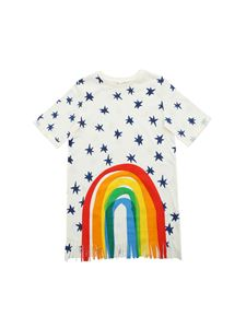 Stella McCartney Kids - Abito color crema con stampa arcobaleno