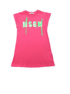 MSGM - Contrasting logo prints dress in fuchsia