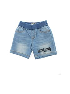 Moschino Kids - Teddy Bear patch denim bermuda in light blue