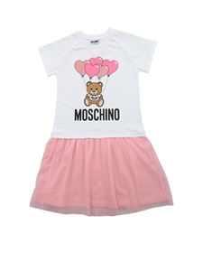 Moschino Kids - Heart Balloons Teddy Bear dress in white and pink