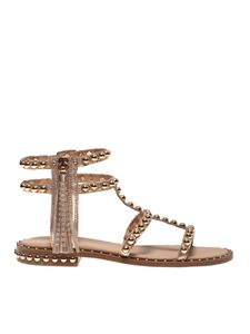 Ash - Power sandals in copper color with rose gold studs