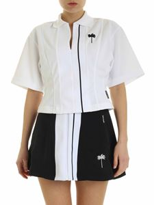 Palm Angels - Tennis Track cropped T-shirt in white