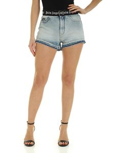 Palm Angels - Logo Belt shorts in light blue denim