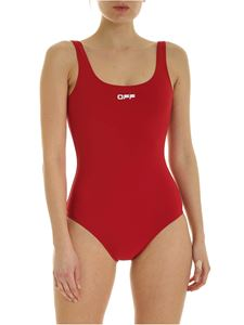 Off-White - Core one-piece swimsuit in dark red