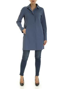 Herno - Stretch fabric overcoat in dasty blue