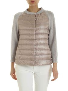 Herno - Lamé knit detail down jacket in pink