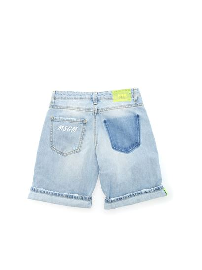 MSGM - Destroyed effect jeans bermuda in light blue
